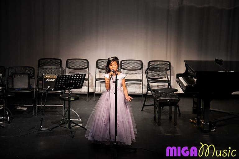 MIGA Music vocal student Danica at our Recitals